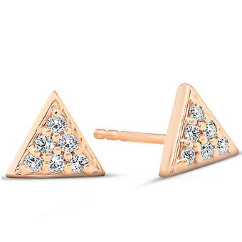 14k Rose Gold Triangle Pave 1/10Ct Diamond Studs Womens Earrings