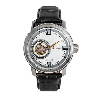 Heritor Automatic Maxim Semi-Skeleton Leather-Band Watch - Silver