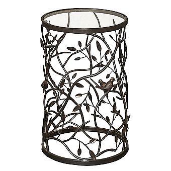 Glas top ijzeren accent tafel met vogel en tak motief, bruin en helder