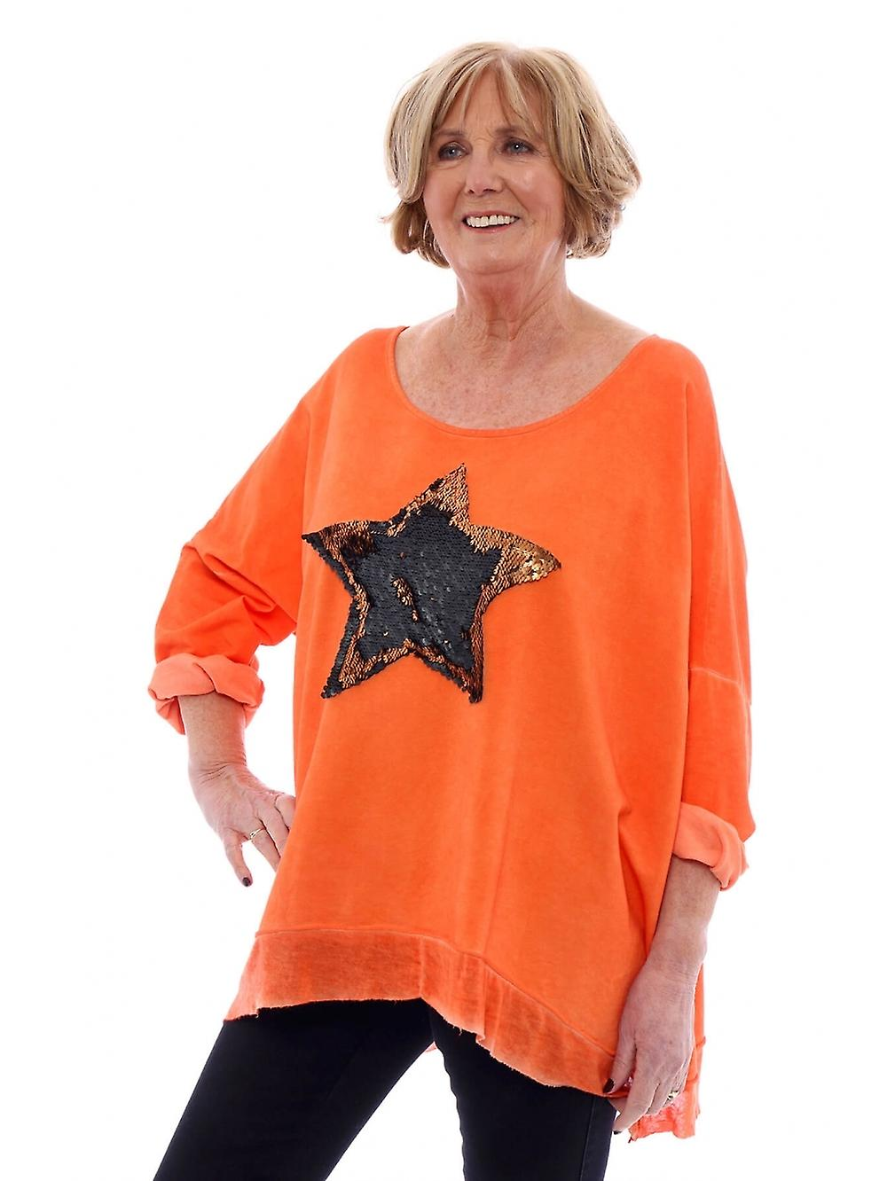 Made In Italy Selsey Sequin Cotton Star Washed Jumper