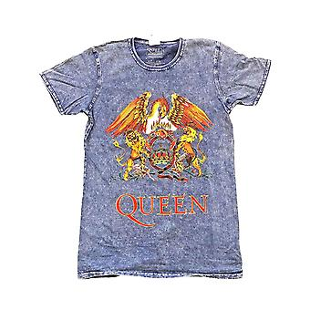 Queen T Shirt Classic Crest Band Logo new Official Mens Denim Blue Burn Out
