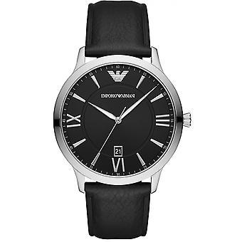 Emporio Armani Watch AR11210 - Leather Black Leather Silver Steel Men's Bracelet