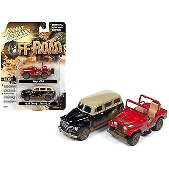 Jeep CJ-5 Renegade (Dirty Version) Red and 1950 Chevrolet Suburban 3100 (Dirty Version) Black Set of 2 pieces 1/64 Diecast Model Cars by Johnny Lightning