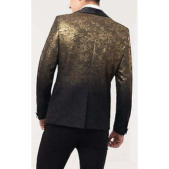Twisted Tailor Herre sort Tuxedo Jakke Skinny fit guld glitter mønster