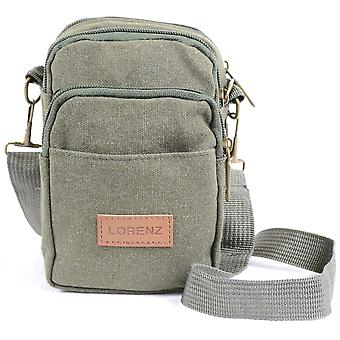 Para hombre / señoras pequeña lona práctica bolsa / bolso de la correa, uso con correa de hombro desmontable o presilla (verde oliva)