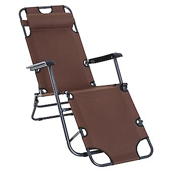 Outsunny Folding Sun Lounger Chair w/ Adjustable Back Steel Frame Cloth Seat Pillow Comfortable Outdoor Recliner Garden Patio Balcony Beach Brown
