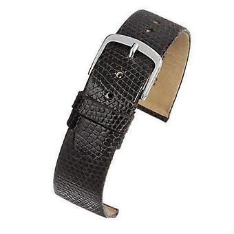 Genuine lizard watch strap brown chrome buckle size 8mm to 20mm