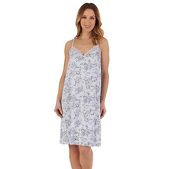 Slenderella ND55120 Women's Grey Floral Cotton Nightdress