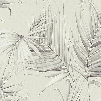 A.S. Creation AS Creation Palm Tree Leaves Leaf Jungle Wallpaper Non Woven Beige Grey 36505-2