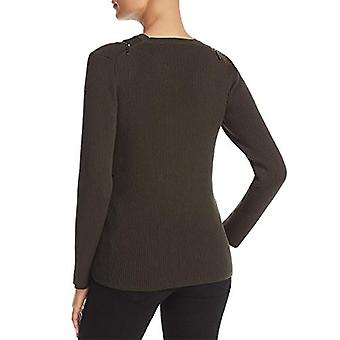 Kenneth Cole Women's Zip Shoulder Ribbed Sweater, deep Forest, M