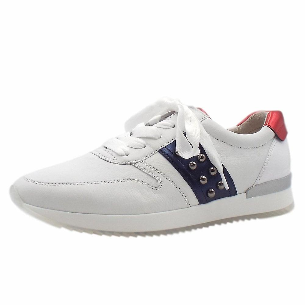 Gabor Treasure Lace Up Leather Sneakers In White Multi cFhd9