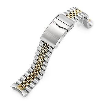 Strapcode watch bracelet 20mm super jubilee 316l stainless steel watch bracelet for seiko skx013, v-clasp two tone ip gold