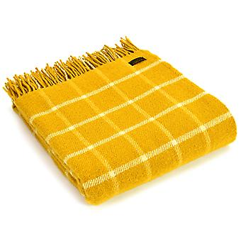 Tweedmill Pure New Wool Chequered Check Yellow Throw