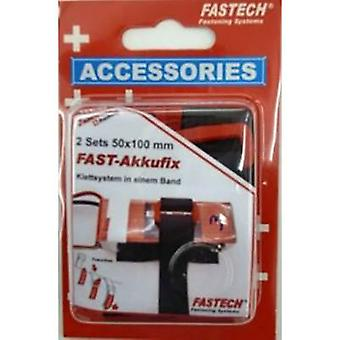 FASTECH® 702-330-Mod1 Hook-and-loop tape stick-on, with strap Hook and loop pad (L x W) 100 mm x 50 mm Black 2 pc(s)