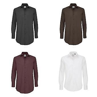 B&C Mens Black Tie Long Sleeve Formal Work Shirt