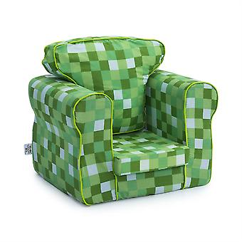 Ready Steady Bed Pixels Green Upholstered Kids Toddler Armchair | Comfy Children Furniture | Soft Child Safe Seat Playroom Sofa | Ergonomically Designed Chair