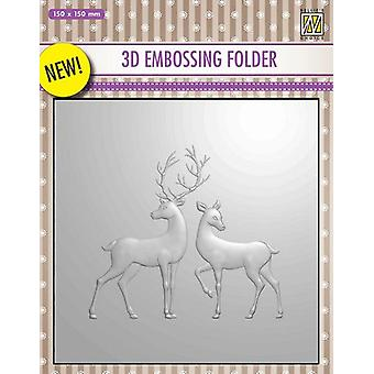 Nellie's Choice 3D Emb. folder Reindeer EF3D008 150x150mm