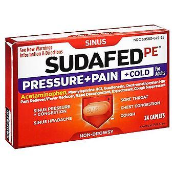 Sudafed pe trykk + smerte + kulde, caplets, 24 ea