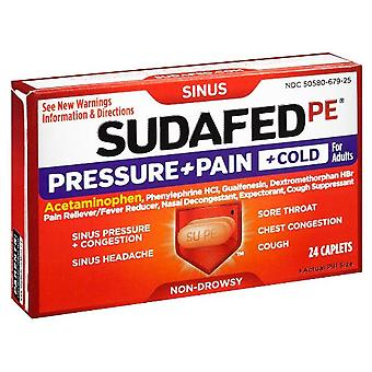 Sudafed pe pressure + pain + cold, caplets, 24 ea