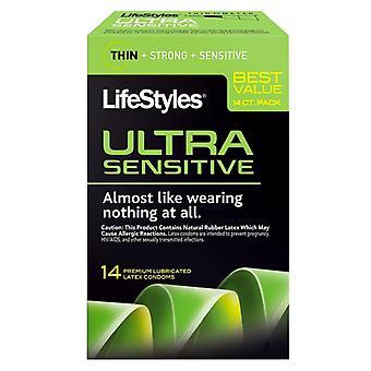 Ultra premium sensível de estilos de vida lubrificado preservativos de látex, ea 14