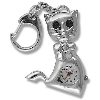 Park Lane Silver Tone Cat Keychain Analogue Watch PLKR16