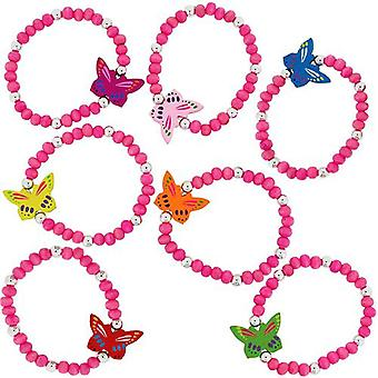 The Olivia Collection Children's Pink Butterfly Wooden Bracelet - Pack of 7