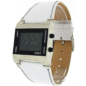 Spirit Gents Digital Date-Alarm White PU Strap Casual Watch ASPG09