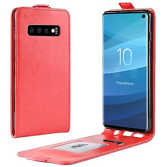For Samsung Galaxy S10 tilfelle rød PU skinn vertikal flip-stil cover