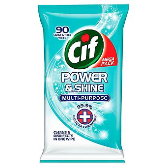 CIF Mega Pack Power & Shine Multi-Purpose Large & Thick Wipes 90 Pack