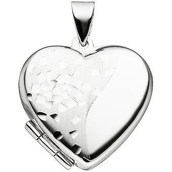 Women's medallion heart for 2 photos 925 silver part matt heart medallion for opening