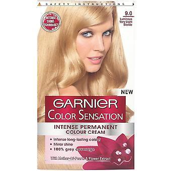 3 x Garnier Color Sensation Intense Permanent Colour Cream 9.0 Luminous Very Light Blonde