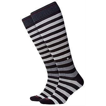 Burlington Blackpool stripete kne høye sokker-svart/grå