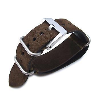 Strapcode n.a.t.o watch strap miltat 24mm nubuck leather grezzo zulu watch strap d. brown thick armband - green hand stitch
