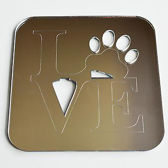 Love Word and Paw Print Square Acrylic Mirror