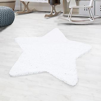 Shaggy high flor rug solid color white star shape children's rug children's room matte