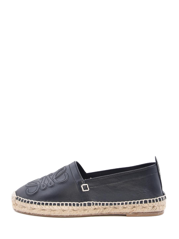Loewe 453103441100 Women's Black Leather Espadrilles