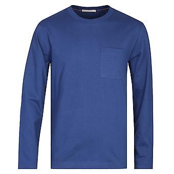 Nudie Jeans Co Rudi Long Sleeve Navy Blue Pocket T-Shirt
