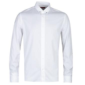 HUGO Emero Star Detail Straight Fit White long Sleeve Shirt