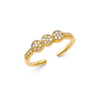 14k Yellow Gold CZ Cubic Zirconia Simulated Diamond Toe Ring Jewelry Gifts for Women - 1.4 Grams
