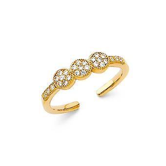 14k žlté zlato CZ kubický zirkónia simulované Diamond Toe prsteň šperky Darčeky pre ženy-1,4 gramov