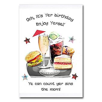 Embroidered Originals Och Its Yer Birthday Ye Can Count Yer Sins The Morn! Card