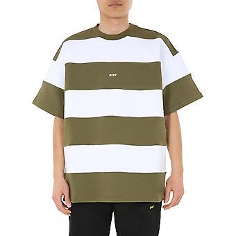 Msgm 2840mm24020709937 Männer's grüne Baumwolle T-shirt