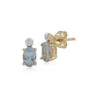 كلاسيك أوفال أوفال أكوامارين وأقراط مسمار الماس في 9 قهّم الذهب الأصفر 135E1264029