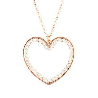 Large Pink Heart CZ Statement Jewellery Gift Rose Gold Drop Necklace Pendant