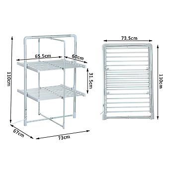HOMCOM Electric Cloth Airer 2 Tier Heater Quick Dry Standing Warmer Light Weight Portable Aluminium Frame w/ Folding Function