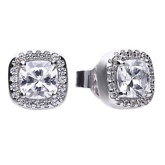 Diamonfire E5590 Square Solitaire And Pave Stud Earrings