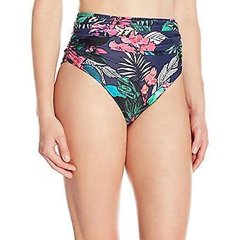 Coastal Blue Women's Swimwear High Waist Bikini Bottom, Tropical Print, L (12...