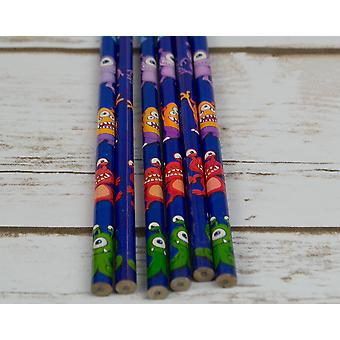 6 Monster Pencils for Party Bags | Outer Space Party Supplies Decoration