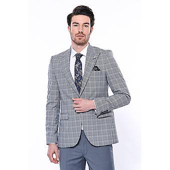 Grey checked slim-fit blazer