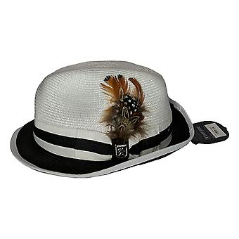 Stacy Adams Gordonville Fedora w/Feather Black White Hat